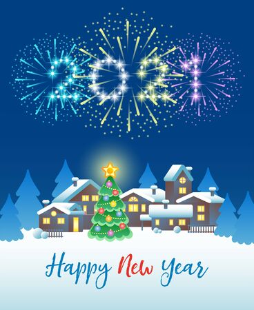 2021 Happy New Year. Festive fireworks in the night sky over the winter village and Christmas tree. Vector illustration.