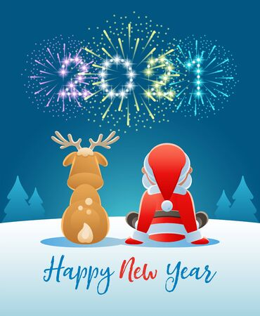 2021 Happy New Year. Cute Santa Claus and Reindeer watching the Fireworks. Vector illustration.