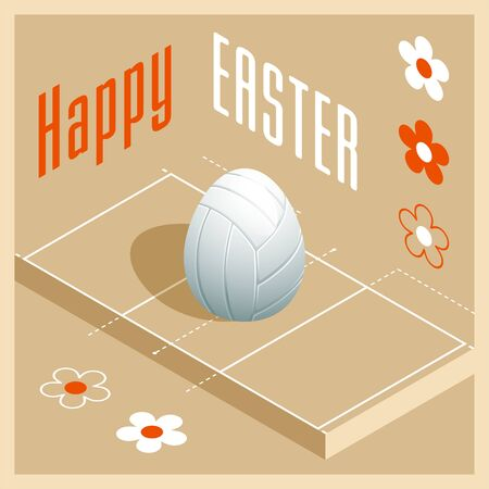 Happy Easter. Greeting card with 3D Easter egg as a white volleyball ball and Isometric volleyball court. Vector illustration.