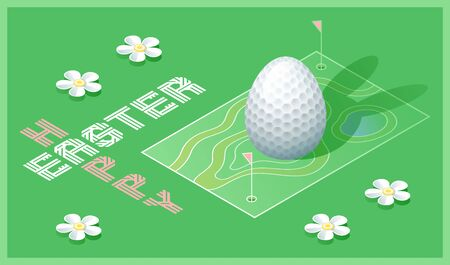 Happy Easter greeting card. Isometric illustration with 3D Easter egg as a golf ball and golf course. Vector illustration. Vectores
