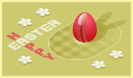 Happy Easter greeting card. Isometric illustration with 3D Easter egg as a cricket ball and cricket pitch. Vector illustration.