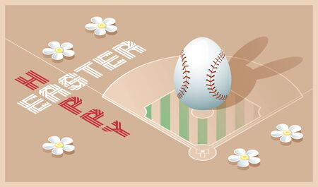 Happy Easter greeting card. Isometric illustration with 3D Easter egg as a baseball ball and baseball field. Vector illustration.