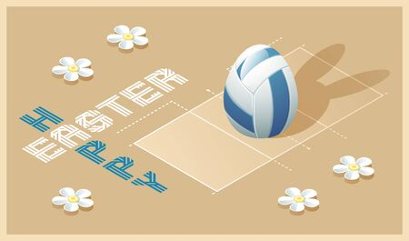Happy Easter greeting card. Isometric illustration with 3D Easter egg as a volleyball ball and volleyball court. Vector illustration. Vectores