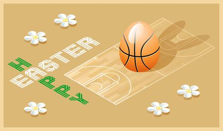 Happy Easter greeting card. Isometric illustration with 3D Easter egg as a basketball ball and basketball court. Vector illustration. Vectores