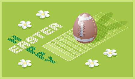 Happy Easter greeting card. Isometric illustration with 3D Easter egg as a football ball and football field. Vector illustration. Vectores
