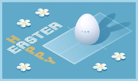 Happy Easter greeting card. Isometric illustration with 3D Easter egg as a table tennis ball