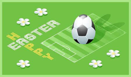 Happy Easter greeting card. Isometric illustration with 3D Easter egg as a soccer ball and soccer field. Vector illustration. Vectores