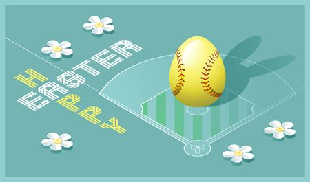 Happy Easter greeting card. Isometric illustration with 3D Easter egg as a softball ball and softball field. Vector illustration.