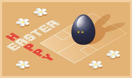 Happy Easter greeting card. Isometric illustration with 3D Easter egg as a squash ball and squash court. Vector illustration.