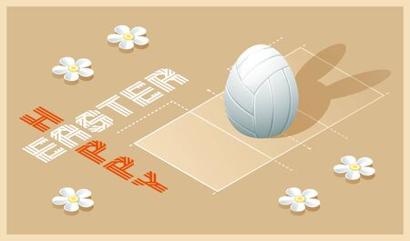 Happy Easter greeting card. Isometric illustration with 3D Easter egg as a white volleyball ball and volleyball court. Vector illustration.