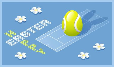 Happy Easter greeting card. Isometric illustration with 3D Easter egg as a tennis ball and tennis court. Vector illustration.