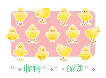 Happy Easter. Greeting card with stickers of cute chicks on a pink background. Vector illustration.