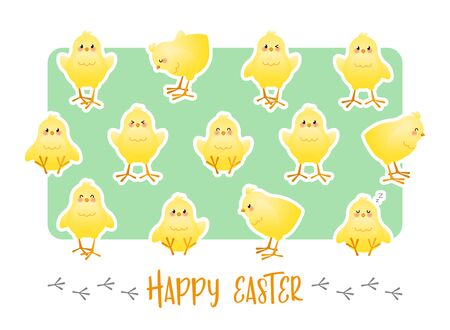 Happy Easter. Greeting card with stickers of cute chicks on a green background. Vector illustration. Vectores