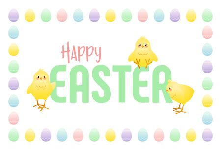 Happy Easter. Greeting card with cute chicks and frame of colored eggs. Vector illustration.