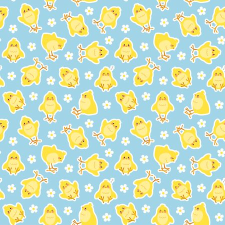 Easter seamless pattern with cute chicks stickers. Good for wrapping. Easy to edit the background color. Vectores