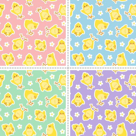 Set of four Easter seamless pattern with cute chicks stickers. Good for wrapping. Easy to edit the background color. Vectores