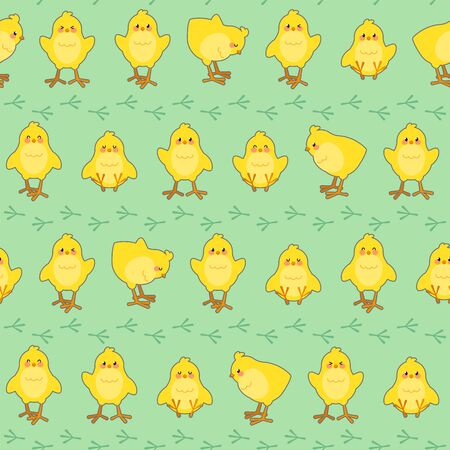 Easter seamless pattern with cute chicks and footprints on a green background. Good for wrapping. Vector illustration.