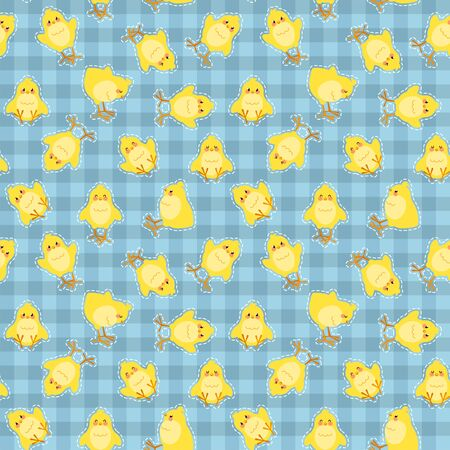 Easter seamless pattern with cute chicks on a checkered background. Good for wrapping. Vector illustration. Vectores