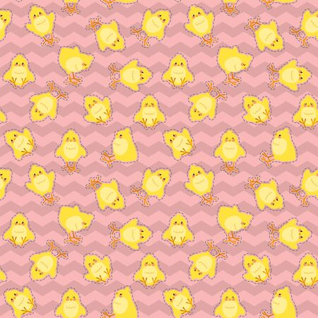 Easter seamless pattern with cute chicks on a zig zag background. Good for wrapping. Vector illustration.