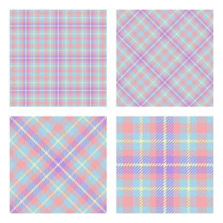 Scottish tartan plaid. Set of 2 seamless patterns. Pastel spring colors. Trendy tiles. Vector included pattern swatches.