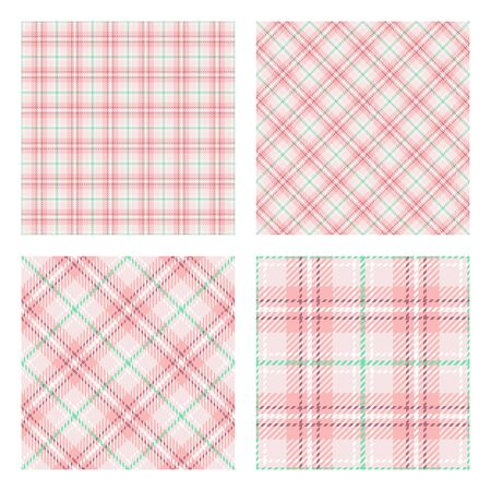 Scottish tartan plaid. Set of 2 seamless patterns. Trendy tiles. Pastel spring colors. Vector included pattern swatches. Vectores