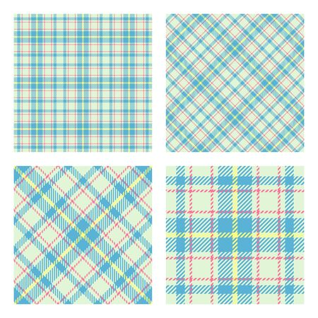 Set of 2 seamless patterns. Scottish tartan plaid. Pastel spring colors. Trendy tiles. Vector included pattern swatches.