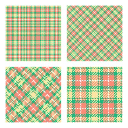Set of 2 seamless patterns. Scottish tartan plaid. Trendy tiles. Pastel spring colors. Vector included pattern swatches.