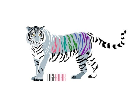 Abstract illustration of tiger with colored stripes. WPAP style. Vector Illustration.