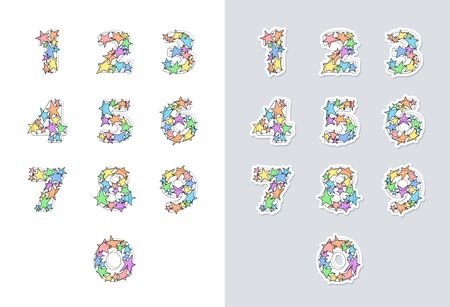 Stickers set of ink sketch numbers font with colorful stars. Good for anniversaries, birthdays, holidays and others. Vector illustration.