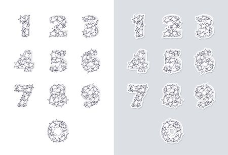 Stickers set of ink sketch numbers font with stars. Good for anniversaries, birthdays, holidays and others. Vector illustration.