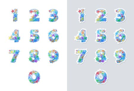 Stickers set of numbers font with colorful stars. Good for anniversaries, birthdays, holidays and others. Vector illustration.