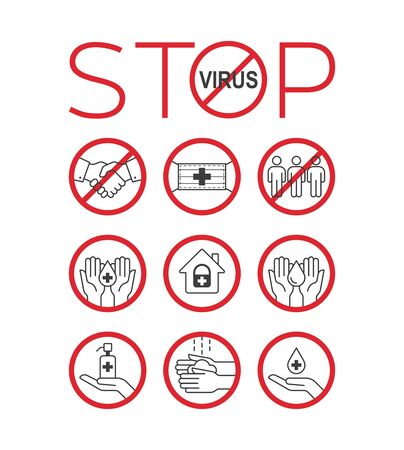 Stop virus icon set. Stop coronavirus. Remedies and prevention. Pandemic medical concept. Vector illustration.