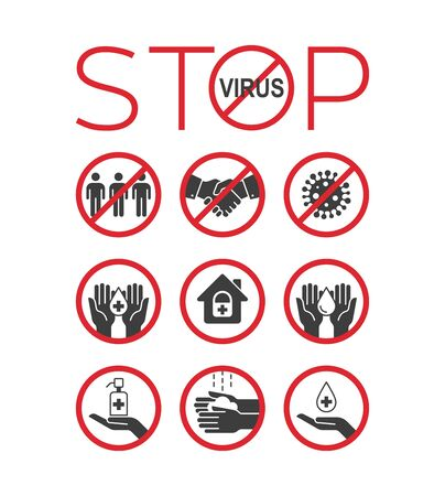 Stop virus icon set. Remedies and prevention. Stop coronavirus. Pandemic medical concept. Vector illustration. Vectores
