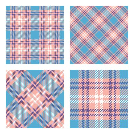 Scottish tartan plaid. Set of 2 seamless patterns. Pastel spring colors. Vector included pattern swatches.
