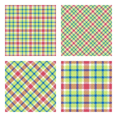 Set of 2 seamless patterns. Scottish tartan plaid. Pastel spring colors. Vector included pattern swatches. Good for home decor, textile, wrapping and other.  Vectores
