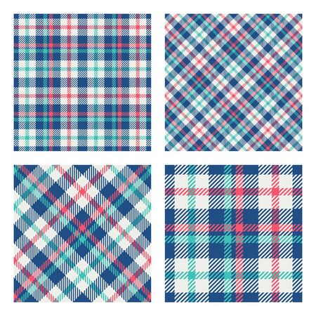 Set of 2 seamless patterns. Scottish tartan plaid. Trendy tiles. Vector included pattern swatches. Good for home decor, textile, wrapping and other.