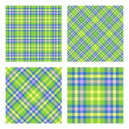 Scottish tartan plaid. Set of 2 seamless patterns. Spring colors palette. Vector included pattern swatches. Good for home decor, textile, wrapping and other.