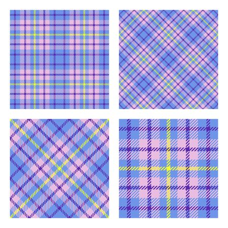 Scottish tartan plaid. Set of 2 seamless patterns. Trendy tiles. Vector included pattern swatches. Good for home decor, textile, wrapping and other.  Vectores