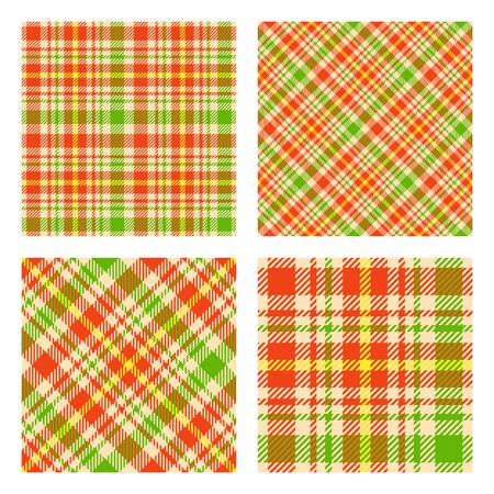 Set of 2 seamless patterns. Scottish tartan plaid. Spring colors palette. Vector included pattern swatches. Good for home decor, textile, wrapping and other.  Vectores