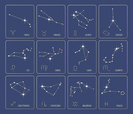Set of precious Zodiac Constellations with diamond stones and gold. Zodiac Signs included. All elements are on separated layers. Vector illustration. Vectores