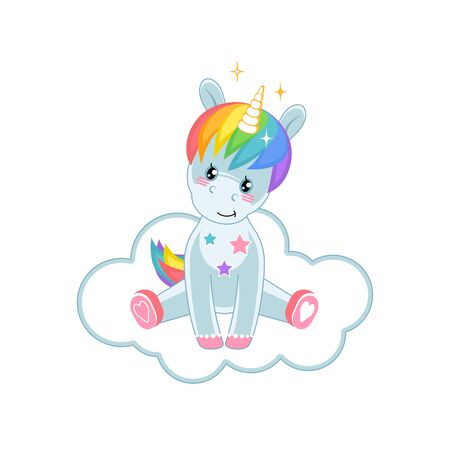 Magic little Unicorn is sitting on the cloud. Cute cartoon character. Vector illustration.