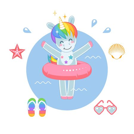 Magic little Unicorn with Inflatable toy on the beach. Cute cartoon character. Vector illustration.