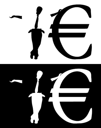 euro teken: Business man naast Euro teken tonen zijn lege zakken