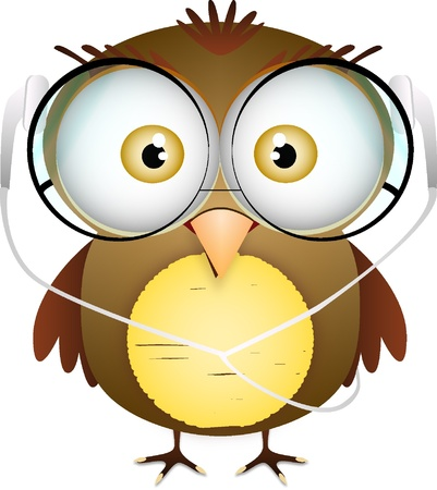 Cute fat bird with glasses and headphone Stock Vector - 14698389