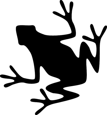 A silhouette of a black frog on white background Illustration