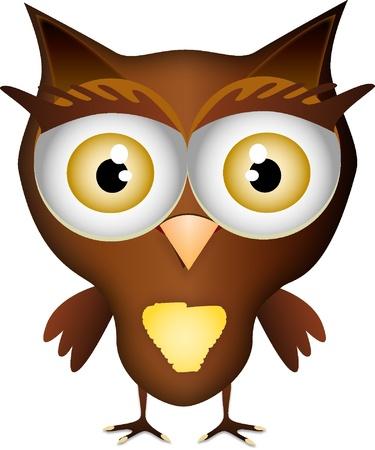 color illustration of a cute little owl Illustration