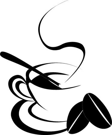 grano de cafe: caf� silueta de una taza con caf� en grano dos en fondo blanco