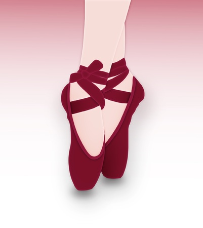 ballet slippers: Detail of ballet dancer s feet Illustration