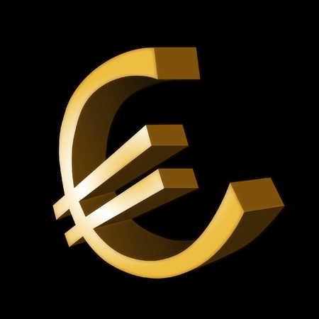 3d gold euro symbol isolated on black background