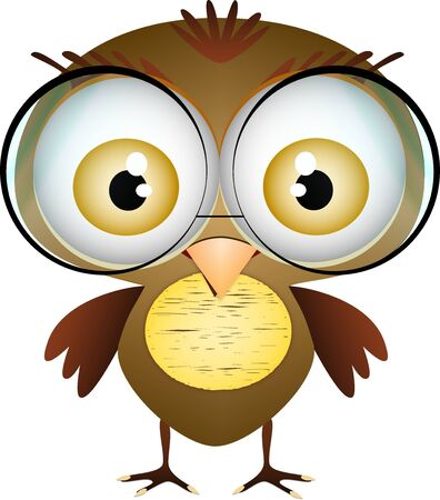 little cute bird with glasses on white background Illustration